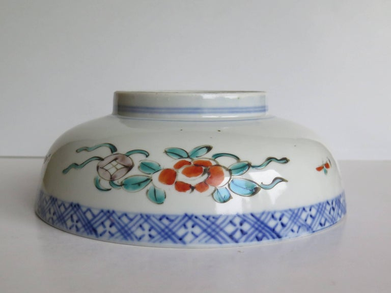 Japanese Porcelain Footed Bowl Hand-Painted Polychrome Water Side Scene For Sale 8