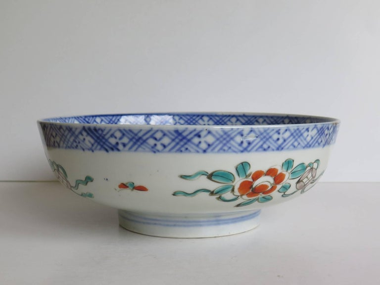 Japanese Porcelain Footed Bowl Hand-Painted Polychrome Water Side Scene For Sale 1