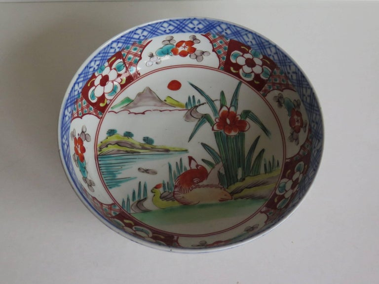 Japanese Porcelain Footed Bowl Hand-Painted Polychrome Water Side Scene For Sale 2
