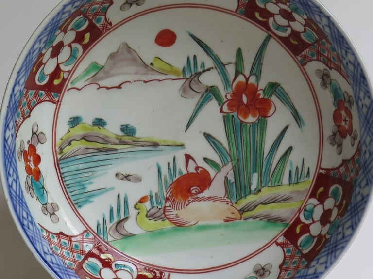 Japanese Porcelain Footed Bowl Hand-Painted Polychrome Water Side Scene For Sale 5
