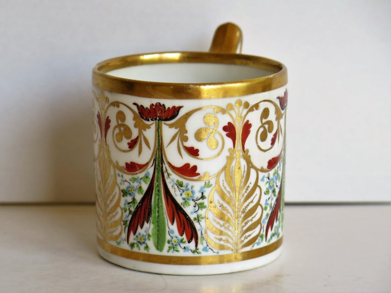 Georgian George 111 Derby Porcelain Coffee Can with Rare Ear Handle Hand-Painted For Sale