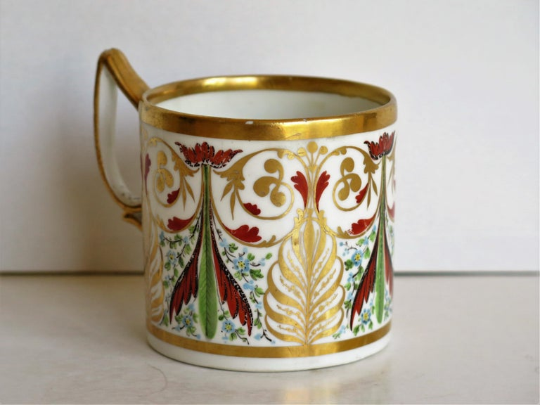 English George 111 Derby Porcelain Coffee Can with Rare Ear Handle Hand-Painted For Sale
