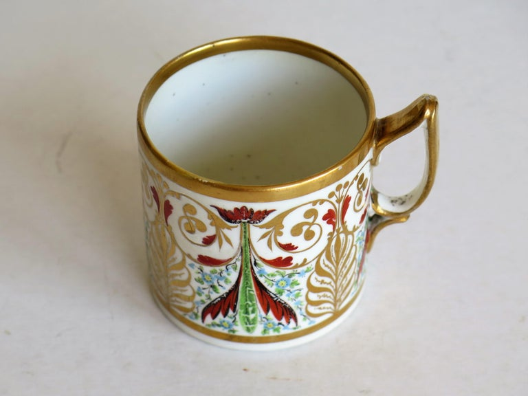 George 111 Derby Porcelain Coffee Can with Rare Ear Handle Hand-Painted For Sale 4
