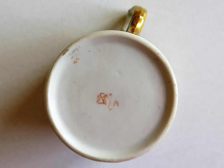 George 111 Derby Porcelain Coffee Can with Rare Ear Handle Hand-Painted For Sale 7