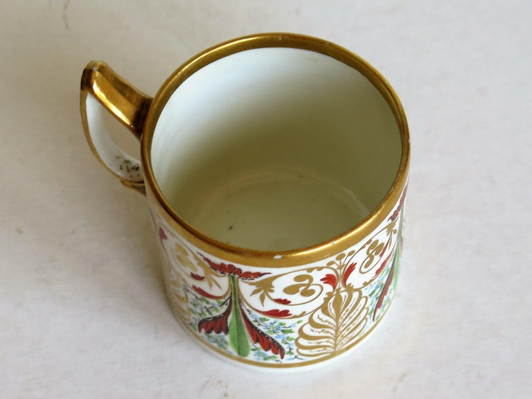 George 111 Derby Porcelain Coffee Can with Rare Ear Handle Hand-Painted For Sale 5