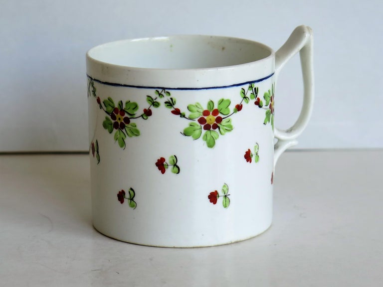 George III Very Early 19th Century Derby Porcelain Coffee Can Hand-Painted, circa 1800 For Sale