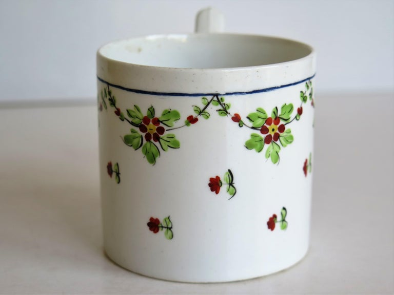 Very Early 19th Century Derby Porcelain Coffee Can Hand-Painted, circa 1800 For Sale 4