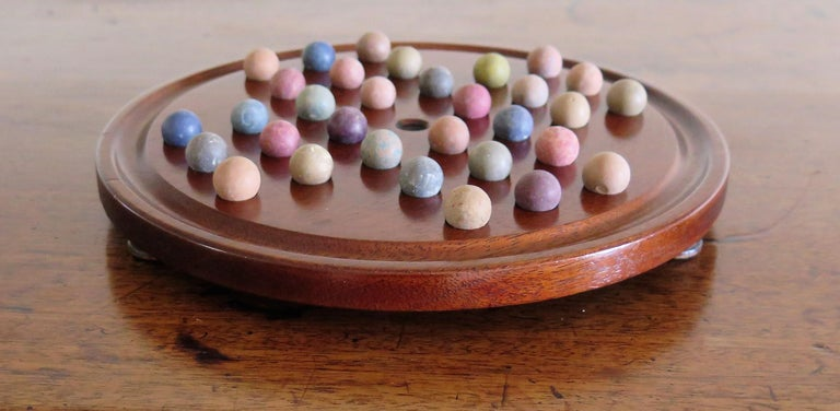 19th Century Marble Solitaire Game with Handmade Mahogany Board and 32 marbles For Sale 3