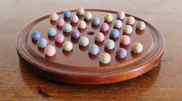 19th Century Marble Solitaire Game with Handmade Mahogany Board and 32 marbles For Sale 4