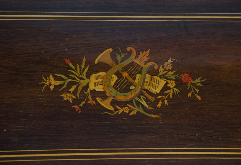 Swiss Music Box with Ten Airs Drums and Bells Finely Inlaid Marquetry circa 1880 In Good Condition For Sale In Lincoln, Lincolnshire