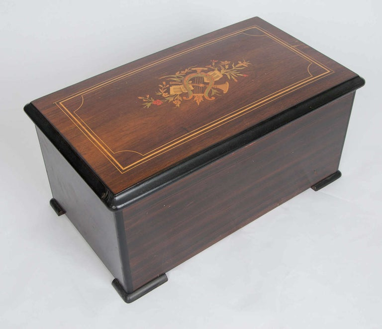 Swiss Music Box with Ten Airs Drums and Bells Finely Inlaid Marquetry circa 1880 For Sale 2