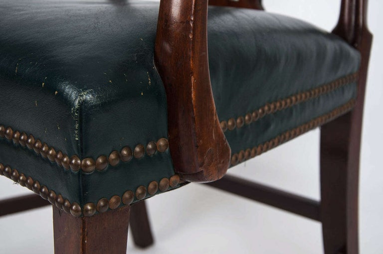 English 18th Century Hepplewhite Period Mahogany Armchair Green Leather Seat, circa 1785 For Sale
