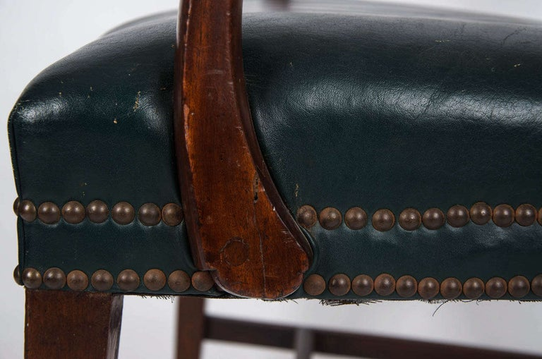 18th Century Hepplewhite Period Mahogany Armchair Green Leather Seat, circa 1785 For Sale 1