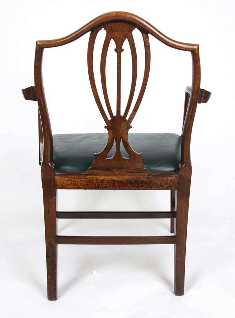 18th Century Hepplewhite Period Mahogany Armchair Green Leather Seat, circa 1785 For Sale 5