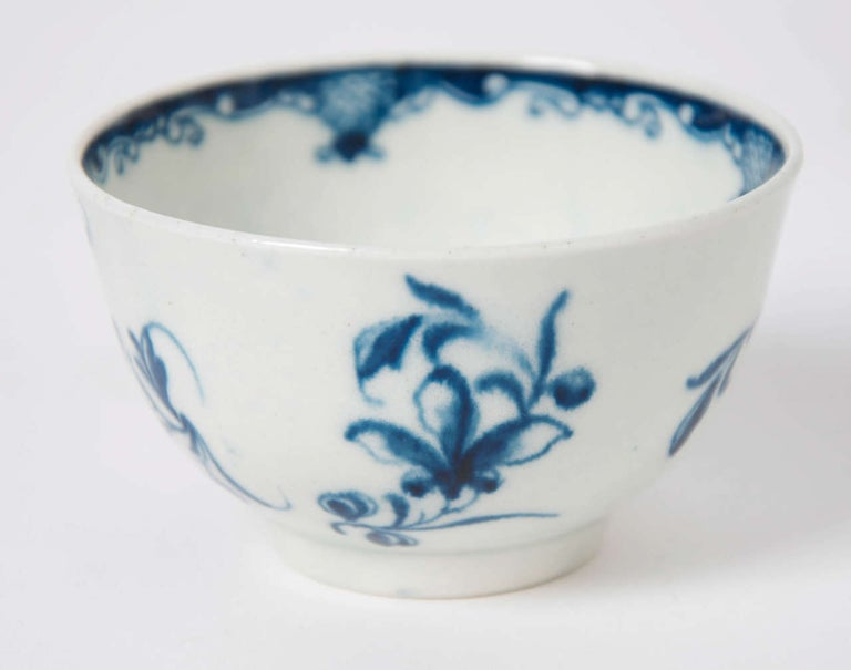 18th Century First Period Worcester Porcelain Tea Bowl and Saucer Mansfield Pattern For Sale