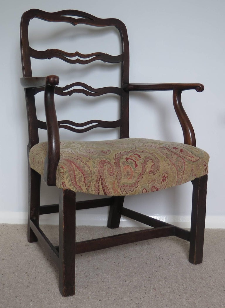 George II Country Armchair Elm with Ribbon Back and Crook Arm English circa 1750 In Good Condition For Sale In Lincoln, Lincolnshire