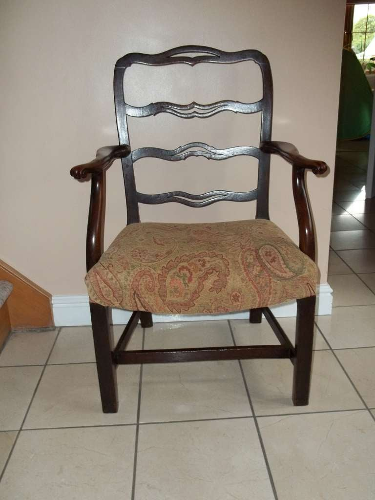 18th Century George II Country Armchair Elm with Ribbon Back and Crook Arm English circa 1750 For Sale