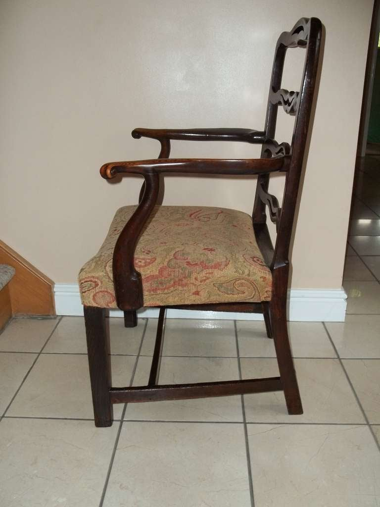 Fabric George II Country Armchair Elm with Ribbon Back and Crook Arm English circa 1750 For Sale