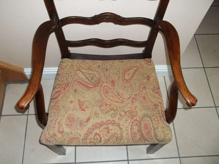 George II Country Armchair Elm with Ribbon Back and Crook Arm English circa 1750 For Sale 3