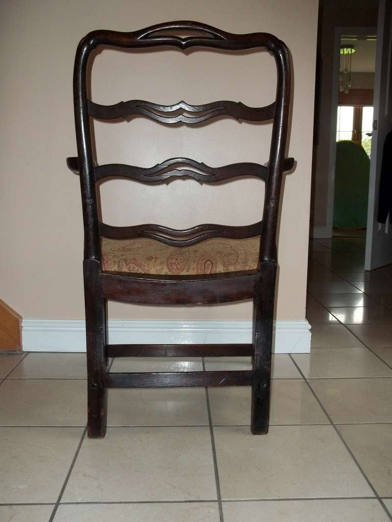 George II Country Armchair Elm with Ribbon Back and Crook Arm English circa 1750 For Sale 9