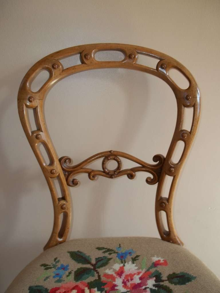 English Mid-19th Century Side Chair Hand Carved Wool Work Seat, Victorian, circa 1850 For Sale