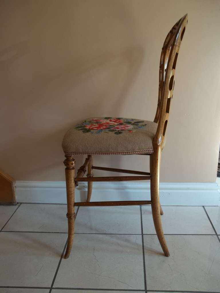 Mid-19th Century Side Chair Hand Carved Wool Work Seat, Victorian, circa 1850 For Sale 1