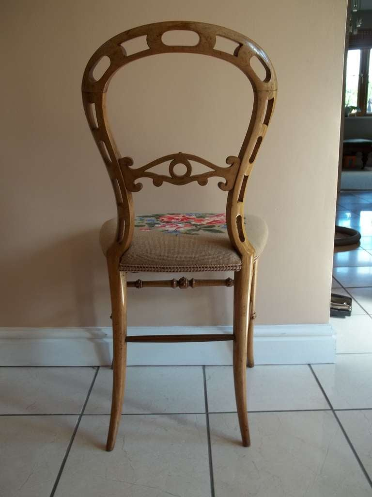 Mid-19th Century Side Chair Hand Carved Wool Work Seat, Victorian, circa 1850 For Sale 2