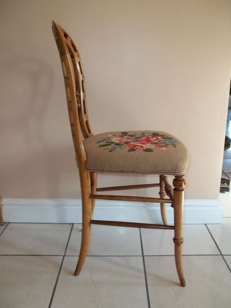 Mid-19th Century Side Chair Hand Carved Wool Work Seat, Victorian, circa 1850 For Sale 3