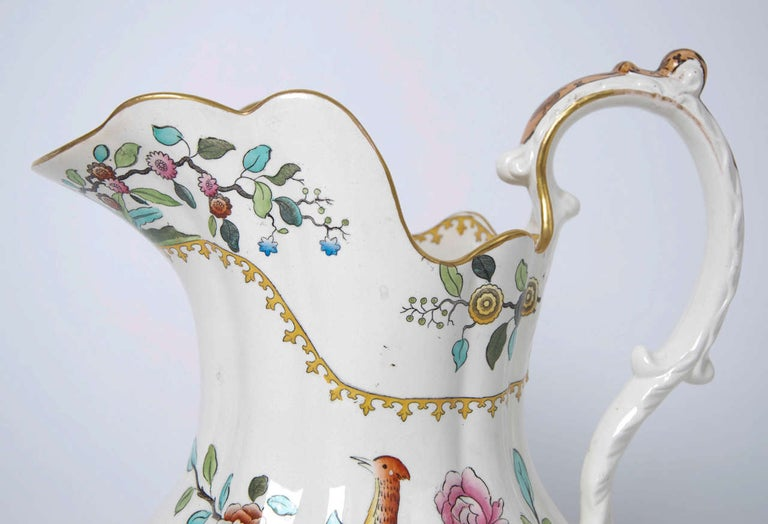 British Victorian Spode Copeland Large Pitcher or Jug in Pheasant Pattern, circa 1891 For Sale