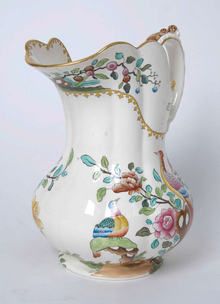 Glazed Victorian Spode Copeland Large Pitcher or Jug in Pheasant Pattern, circa 1891 For Sale