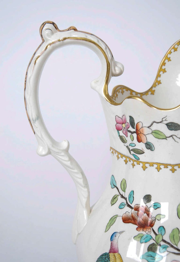 Earthenware Victorian Spode Copeland Large Pitcher or Jug in Pheasant Pattern, circa 1891 For Sale