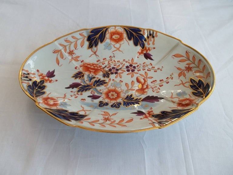 English Early Davenport Ironstone Large Dish or Platter Hand Painted Pattern 37 For Sale