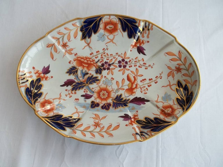 Hand-Painted Early Davenport Ironstone Large Dish or Platter Hand Painted Pattern 37 For Sale