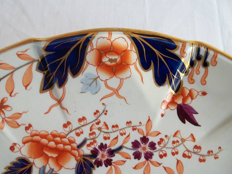 19th Century Early Davenport Ironstone Large Dish or Platter Hand Painted Pattern 37 For Sale