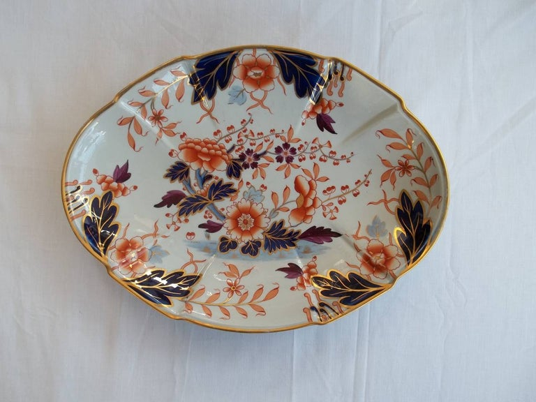 Early Davenport Ironstone Large Dish or Platter Hand Painted Pattern 37 For Sale 1