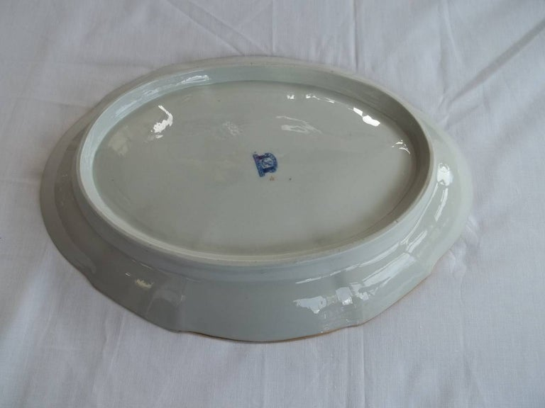 Early Davenport Ironstone Large Dish or Platter Hand Painted Pattern 37 For Sale 2