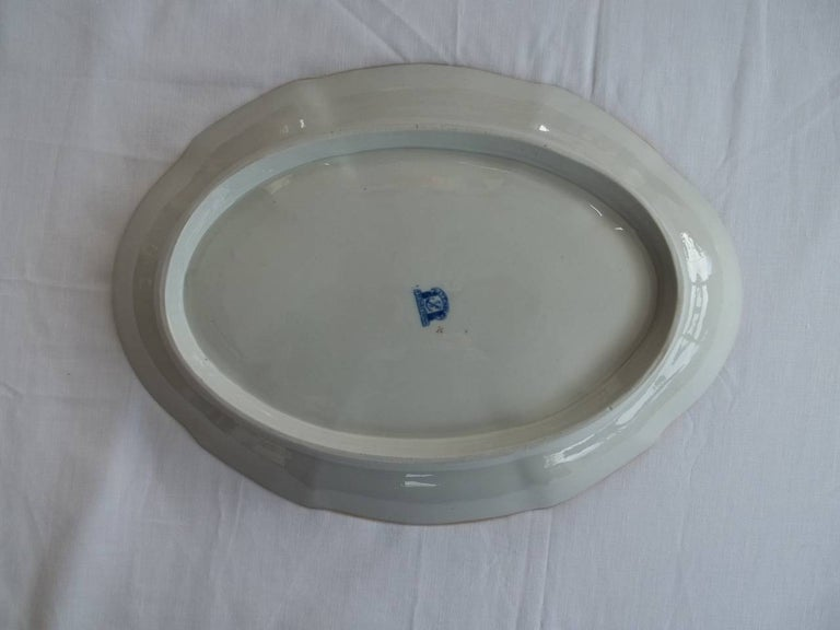 Early Davenport Ironstone Large Dish or Platter Hand Painted Pattern 37 For Sale 3