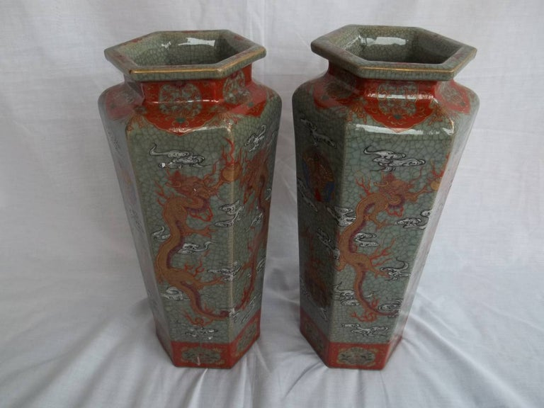 Hand-Painted Large Pair of Chinese Vases porcelain hand painted dragons, Qing circa 1900 For Sale