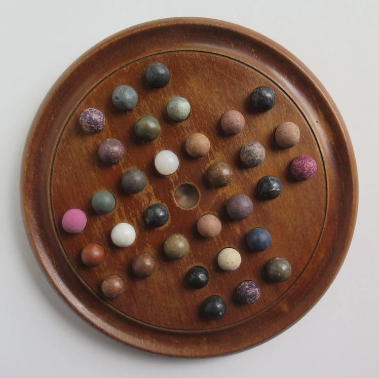 19th Century Marble Solitaire Board Game With 32 Handmade Marbles Circa 1890