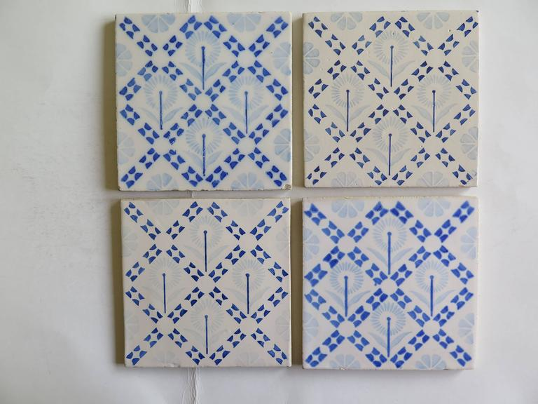 Four glazed earthenware tiles from the Art-Deco period, probably made in the Netherlands, circa 1930.