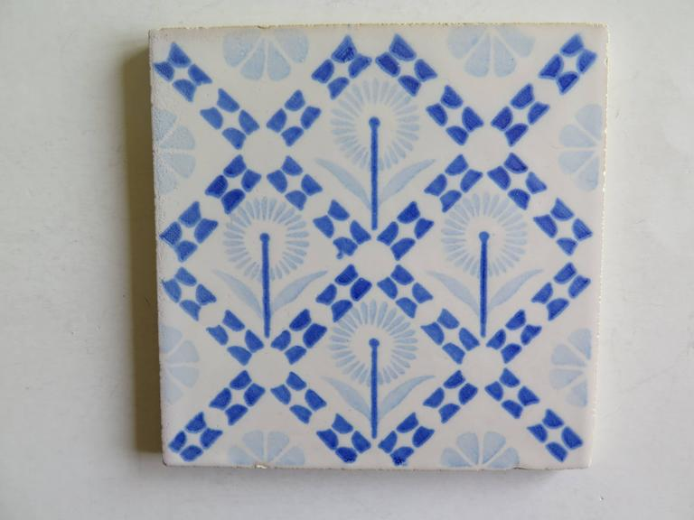 Four Art Deco Period Ceramic Wall Tiles Blue and White, Dutch, circa 1930 In Good Condition For Sale In Lincoln, Lincolnshire