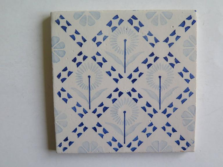 Four Art Deco Period Ceramic Wall Tiles Blue and White, Dutch, circa 1930 For Sale 1