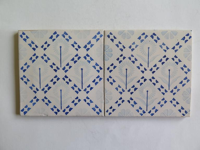 Earthenware Four Art Deco Period Ceramic Wall Tiles Blue and White, Dutch, circa 1930 For Sale