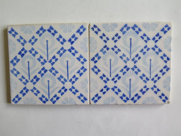 Glazed Four Art Deco Period Ceramic Wall Tiles Blue and White, Dutch, circa 1930 For Sale