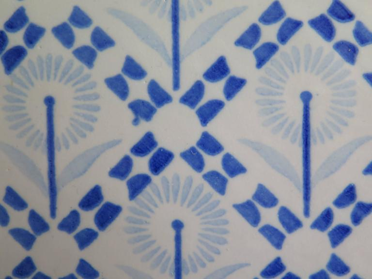 20th Century Four Art Deco Period Ceramic Wall Tiles Blue and White, Dutch, circa 1930 For Sale