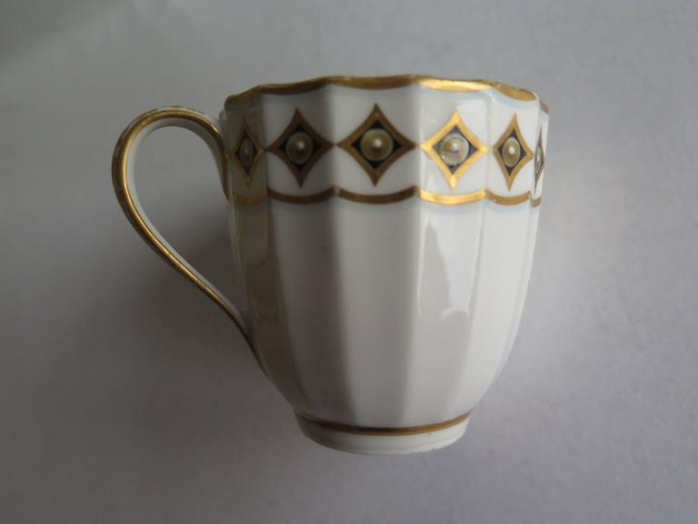 English Very Early Derby Porcelain Coffee Cup Pattern 135 Puce Crown and Batons, Ca 1790 For Sale