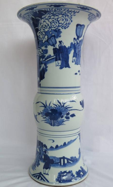 Early 19th Century Large Chinese Porcelain Beaker Vase Blue And