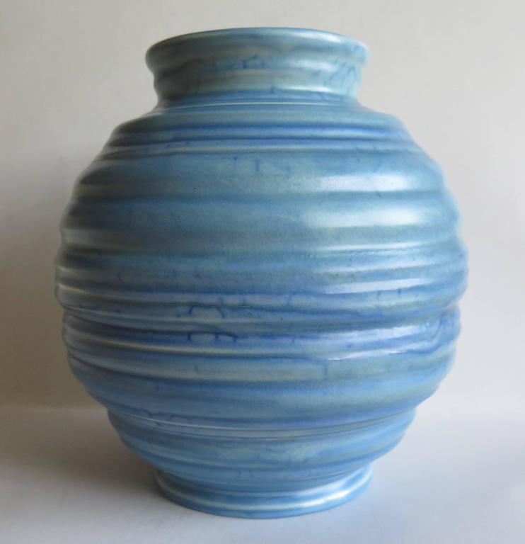 Art Deco Carlton Ware Coiled Spherical Vase Blue Earthenware