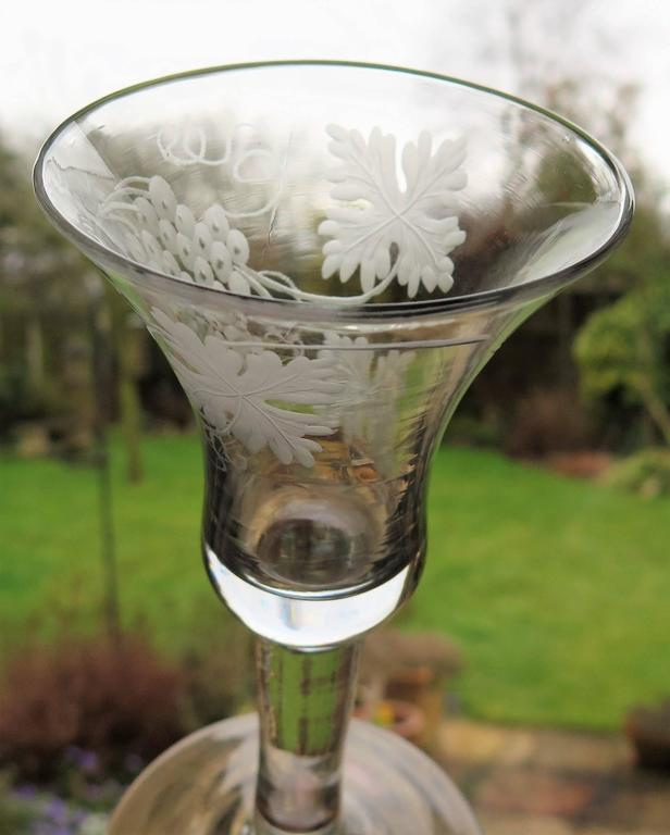 18th Century George II English Wine Drinking Glass Engraved Bell Bowl Hand Blown, Circa 1745 For Sale