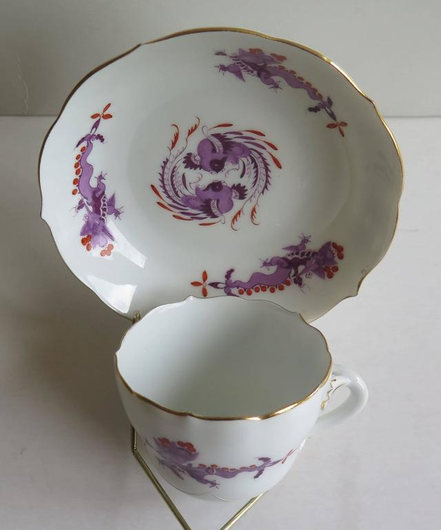 Chinoiserie Meissen Porcelain Demitasse Cup and Saucer Chinese Dragon Pattern, circa 1928 For Sale